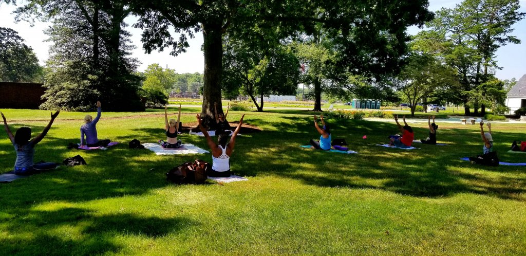 People sitting with their hand up in yoga pose outside under trees on lawn