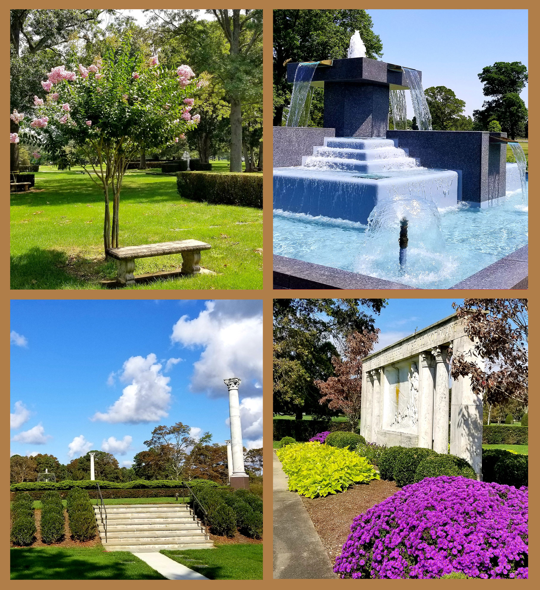 four images of nature fountain and trees